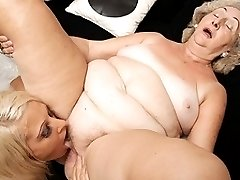 This hot babe has sex with her mature lesbian lover