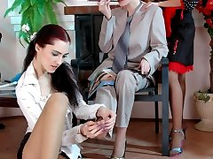 Hot girls in smooth tights take turns jumping on a strap-on in lesbian 3sum