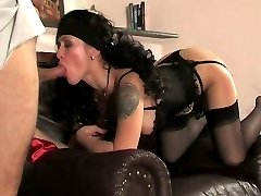 Lewd gal in soft silky stockings moving her panties aside to free her hole