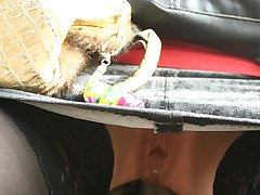 Public upskirt outdoors with pantyless girl in stockings