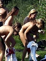 Teens caught bathing naked in the lake - brutal spanking punishments follow