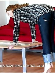 Young teenage cunt bends over for a painful caning