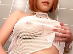 SARA Asian doll teases her boobs with shower over fishnet blouse