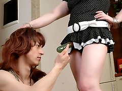 Horny sissy guy fitting on black stockings before frenzied strap-on fucking