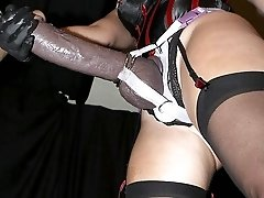 Two gals penetrate helpless male slave with huge strapon dildos and like it