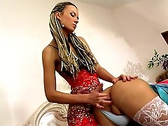 Sissy guy in a stunning gown gets strap-on fucked before going to the party