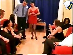 Amateur-made swinger video of group sex orgy in the private club
