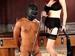 Mz. Berlin ties her slaves balls tight and makes him pull against his ball bondage until he can...