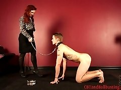 Madeleine Clavel has a puppy that needs some training. With a leash attached to his balls she...