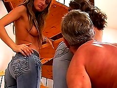 Foot domination and ass worship in jeans