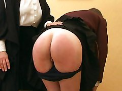 Pitiful school girl spanked otk with her navy blue knickers at half mast
