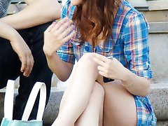 Sitting upskirts outdoors