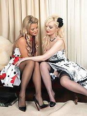 Kinky young ladies with a lesbian pantie and nylon foot fetish!