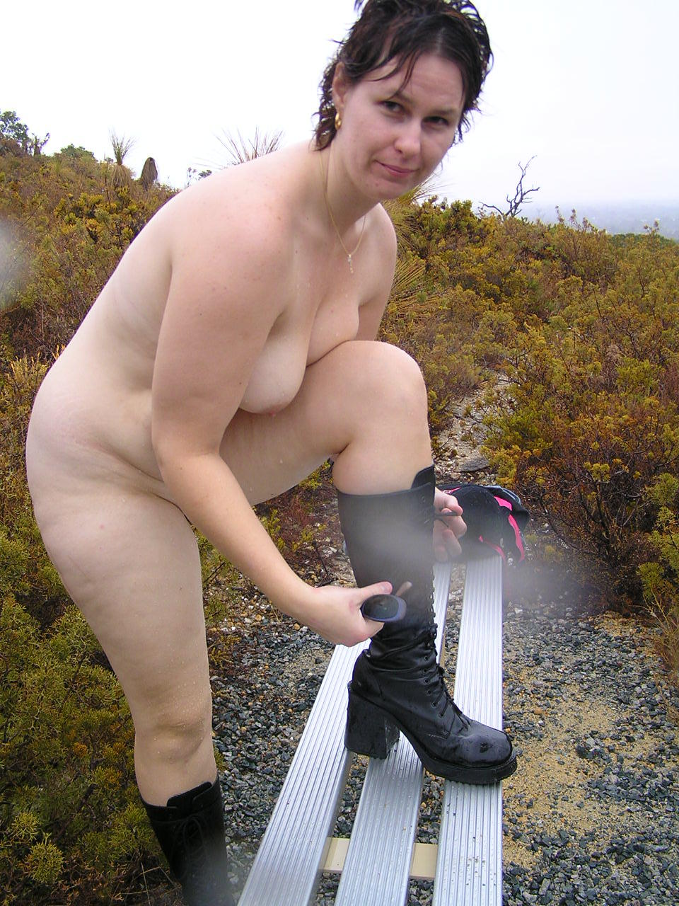 Not logical Naked mature outdoors public