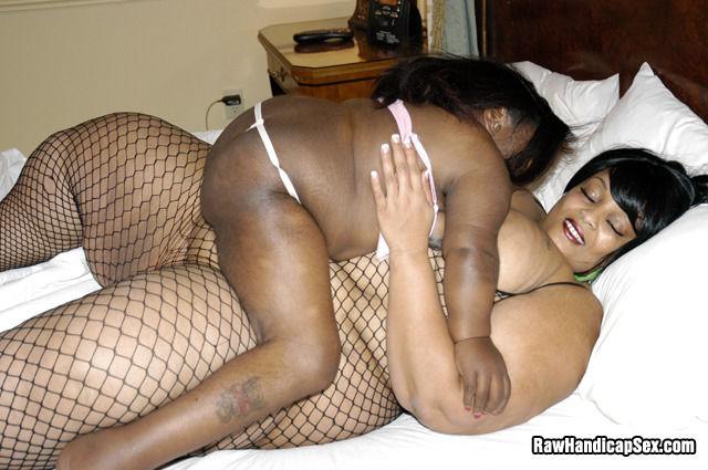 Ebony BBW having lesbian sex with handicapped ebony