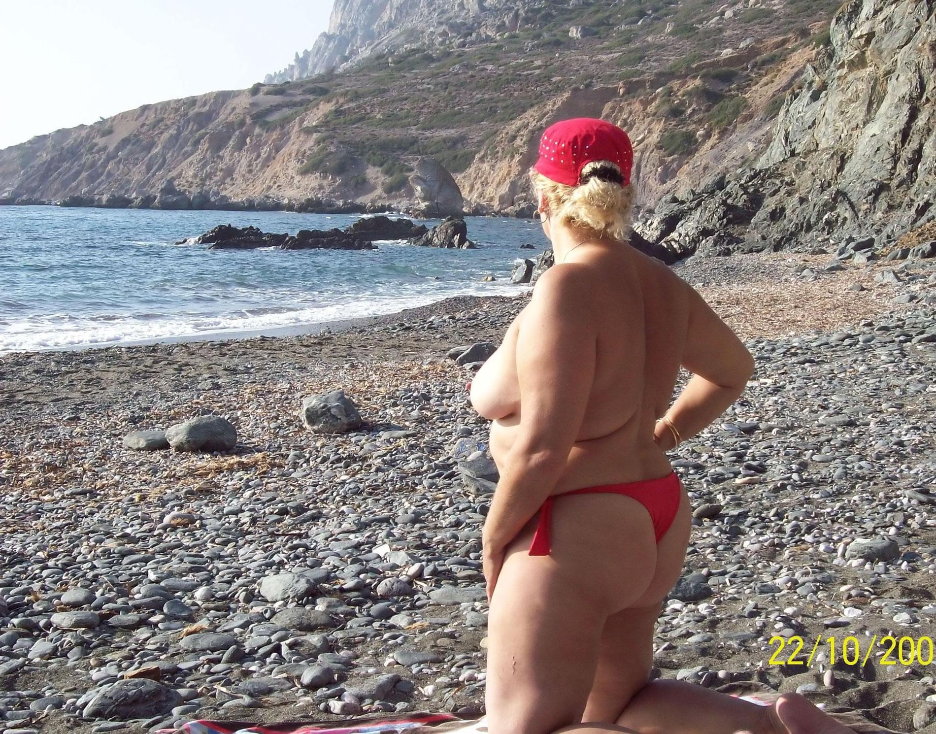 Bbw granny on beach