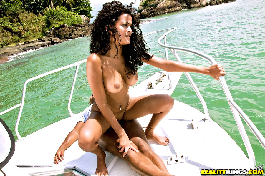 black brazilian fuck - Beautiful green eyed black hair brazilian fucked hard on these boat bikini  fuck pics