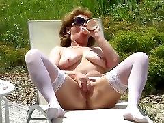 nice unwanted cunnilingus white stocking outdoor masturbate