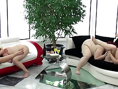 Crazy old and young milking two slaves group fuck