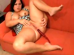 Horny Fat Chubby Teen with wet pussy Cumming on her couch