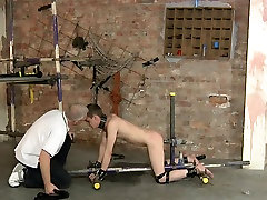 BDSM cuffed twink must fuck himself bondage