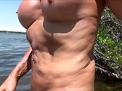 real sissy in nude beach in chastity and rosebud
