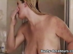 Busty Heather taking a shower