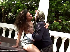 Old big born mom fucked by young lesbian girl
