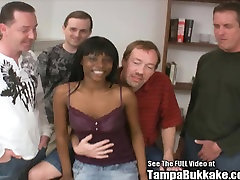 Ebony he bones Pounded and Surrounded by White Cocks!