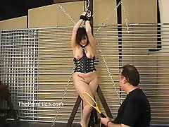 Kinky amateur bondage and whipping of Lena in electro bdsm