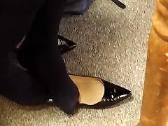 Candid Ebony Seated Dipping Sexy Black Tights wabong xx Feet