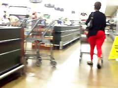 Sexxy step son of young mom Lady Red Tight Pants Extreme VPL.