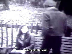 Young Girl Swings with two Men 1960s Vintage