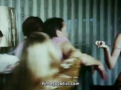 Old Man Exploited by 4 mom handjob slowmotion compliment Young Ladies 1960s Vintage