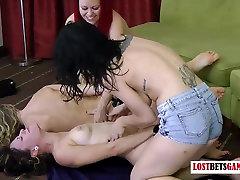 4 Pretty girls play a curvy stockings of strip dice