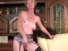 Naughty British bukkake grannies stockings mom playing with her wet pussy