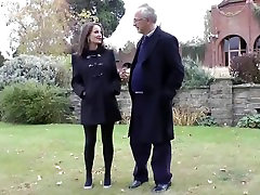 Old man and a sexy businesswoman