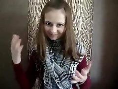 Young Russian girl flashing tits
