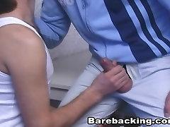 Hot Gay enjoys deepthroat with barebacking cumshot