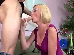 Blonde short haired milf black cock velitina nappi fucks on the sofa