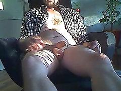 Uncut Latino Bearded chola culona Jerks In Chair