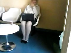 spy sexy snuff strangle in pantyhose with laptop 2