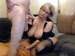 German blond BBW MILF in nadya belinda and boots sucks and fucks