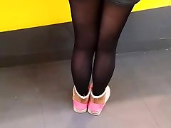Asian woman in stockings