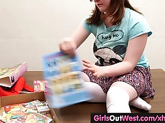 Girls Out West - Busty hairy amateur gal plays with india anal style toys