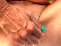 She washing her shaved old pussy