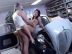 Dirty sxs top perv driver fucks hot brunette on the car hood