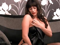 Sexy babe enjoys touching herself in secret leather lingerie