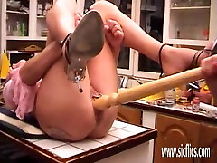 Extreme slave double fisted in both holes