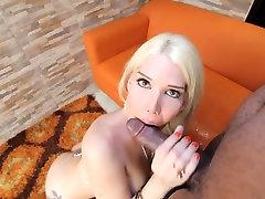 Sexy white tranny rides big black cock